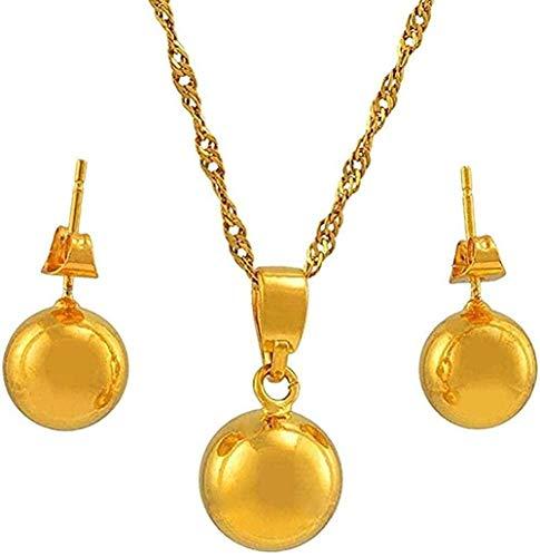 Collar con Cuentas Conjuntos de Joyas Collar Collares Pendientes Bolas Redondas de Color Dorado Joyas para Mujeres Niñas Los Mejores Regalos Longitud del Collar 60cm Collar de Cadena Fina