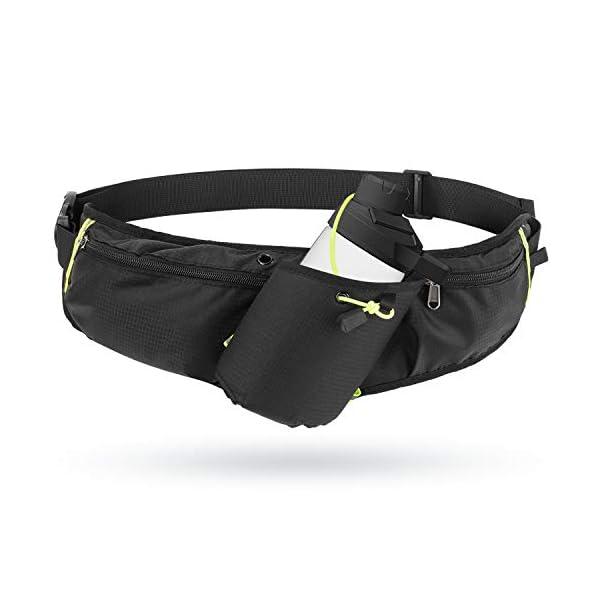 "Odoland Running Belt Hydration Waist Pack with Water Bottle Holder for Men Women, Waist Pouch Fanny Pack Bag, Reflective Fits 6.5"" Cellphone"