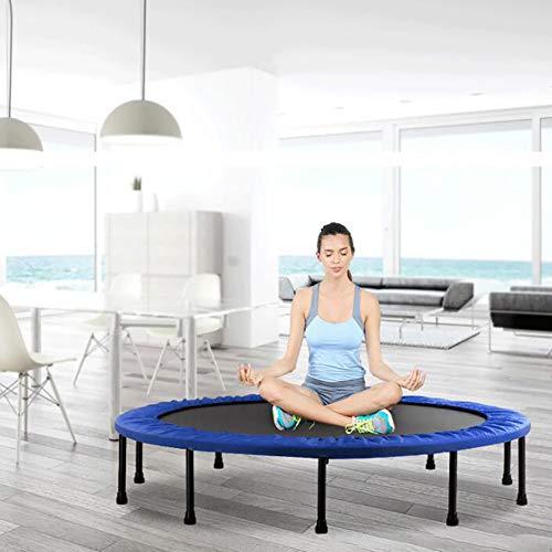 BXY Trampolín de Fitness para niños, trampolín de Interior para Adultos Cama de Resorte de Cuatro Pliegues Dispositivo de Salto aeróbico para Gimnasio,Azul