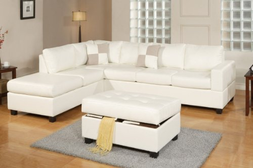 Hot Sale Lombardy Sectional sofa in Bonded Leather With Free Ottoman and Pillows (White)