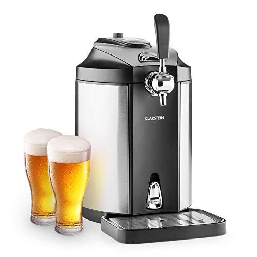 Klarstein Skal - universelle Bierzapfanlage mit integriertem Bierkühler, Kühlung auf 2-12 °C, thermoelektrisches Kühlsystem, 38 dB, Temperaturanzeige, inkl. Adapter für Heineken-Fässer, grausilber