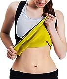 Roseate Women's Body Shaper Hot Sweat Workout Tank Top Slimming Vest Sauna Shirt Neoprene Compression Shapewear, No Zipper, Black/Yellow 3XL