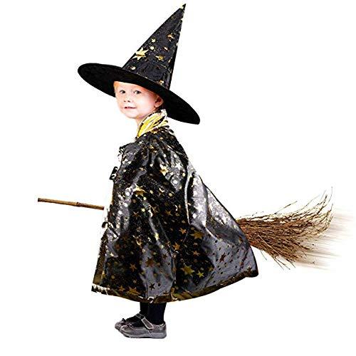 Anzmtosn Unisex Halloween Kostüme Hexenzauberer Umhang mit Hut Zauberer Umhang und Hut Kinder Kinderkostüm Cosplay Kostüm für Kinder Kleinkinder Kinder Jungen / Mädchen (Schwarz)