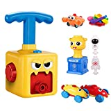 Balloon Powered Car Launcher Set   Educational Toys for Kids, including rocket toy, balloon pump, and air-powered toy cars. Comes with 12 balloons   perfect STEM physics toy. (Yellow Monster)