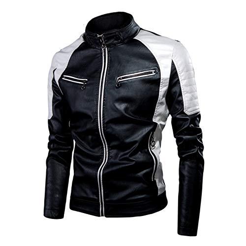 CUzzhtzy Chaquetas de cuero para hombre, estilo informal, con costuras retro, chaquetas de piel cálidas para motocicleta (color: negro 02, talla: S)