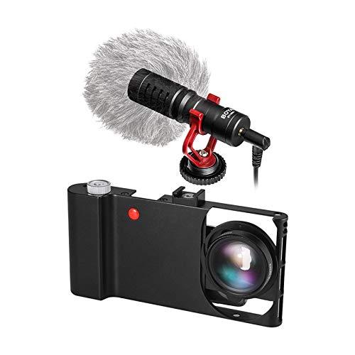 LJPzhp Jaula de vídeo para cámara de aluminio para smartphone + lente macro de gran angular + carcasa para micrófono de escopeta