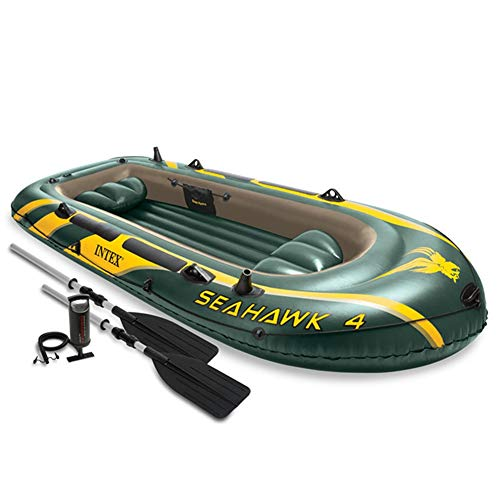 inflatable fishing boats Teerwere-pht Double Inflatable Kayak Four-Person Inflatable Boat 4 People Rubber Rowing Fishing Boat Thickening Inflatable Fishing Boat Drifting Boat Kayak Set (Color : Green, Size : 351×145×48CM)