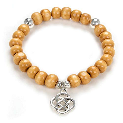Yoga Beads Mala Bracelet Jewelry with Infinity Knot Celtic Charm for Men or Women (Wood Beads)