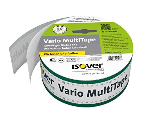 Isover 561970 Vario MultiTape, innen und außen, m x 60 mm, 30 lfm Klebeband, Mehrfarbig
