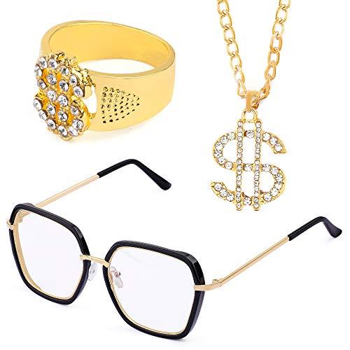 Beelittle Hip Hop Rapper Gangster Kostuum Set - Promi-Retro Style Gouden ketting Hip Hop Ring - jaren '90 jaren '90 Accessoireset