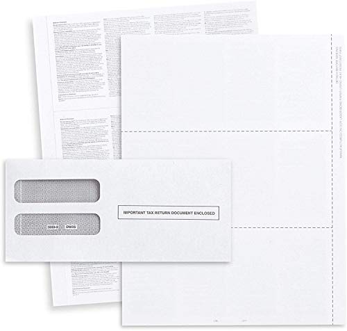 2020 W-2 Blank 3-Up Laser Tax Form, with Back Instructions,and Self-Seal Envelopes, (for 50 Employees) Works with Laser or Inkjet Printers | Great for QuickBooks and Accounting Software