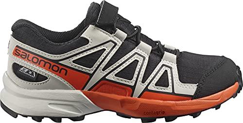 Salomon Speedcross Climasalomon Waterproof Kids Trailrunning-Schuhe, Black/Lunar Rock/Cherry Tomato, 28 EU