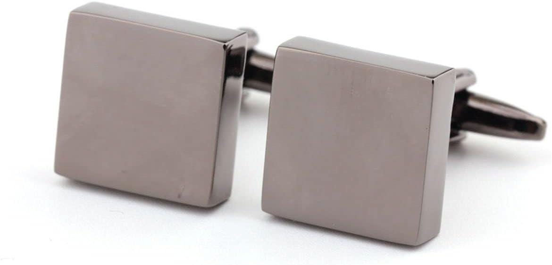 BO LAI DE Cufflinks Plain Metal Square Cufflinks Men's Shirt Cufflinks Suitable for Business Activities Prom Gift Box, Gray