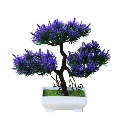 DGHJK Flor Artificial en Maceta Planta Artificial Pino Bonsai Etapa Jardín Boda Fiesta Decoración del hogar Ramo de simulación Púrpura