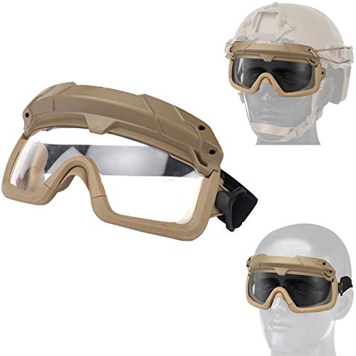 Airsoft Goggles Tactical Safety Goggles Impact Resistance Hunting Eyewear with Dual Mode Wearing methodfor Paintball Riding Shooting Hunting (Coyote)