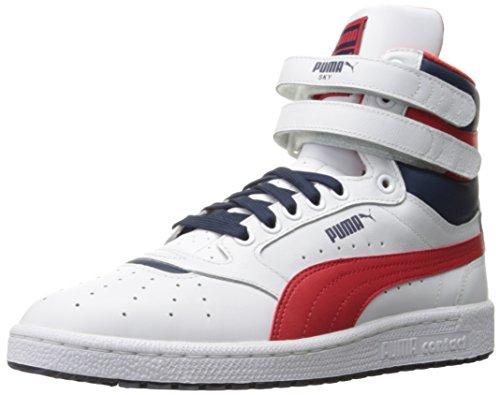 PUMA Men's Sky ii hi fg Basketball Shoe, White/High Risk, 8 M US