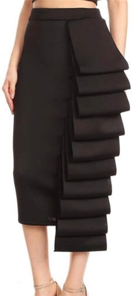 TWDYC Women Pencil Skirt High Waist Slim Midi Solid Modest Classy Female Package Hip Jupes Falad Officewear Elegant (Color : Black, Size : L Code)