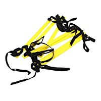 JVSISM 10フィート アジリティスピードラダー サッカートレーニングラダー クイック7フラットラングスピードラダー-黄色