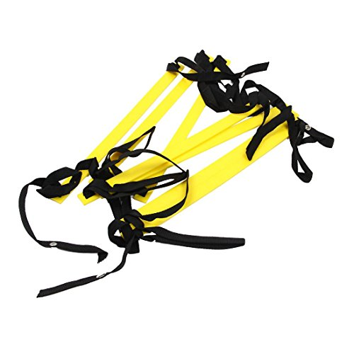 BKAUK 10 Voeten Agility Speed ladder Voetbal Trainingsladder Snel 7 Platte Rung Speed Ladder-Geel