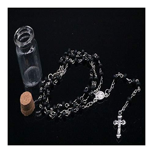 FKJSP 4mm deseando la Botella Rosario perfumado Regalos de la joyería Collar de Bolas de Madera con Jesús Cruz Colgante Charm Católica for Religiosa Collar (Metal Color : 4mt014)