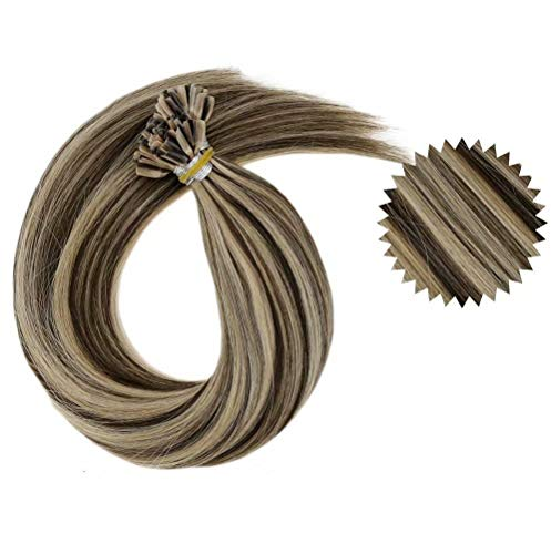 LaaVoo 22 Zoll Haarverlangerung Echthaar #4/27 Braun mit Caramel Blond U Tips Extensions in Echthaar Keratin 1g/s 50G/50Strähne
