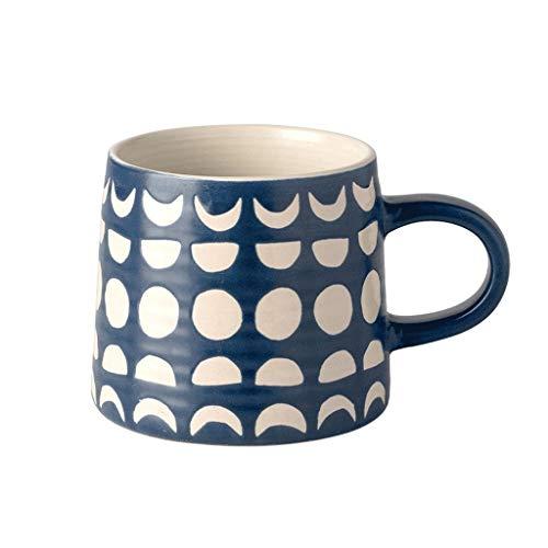 ZANZAN Taza de café de patrón geométrico, Taza de cerámica Grande 400ml, Taza de café Taza de Bebida, Gran Regalo para Amigos Familiares Parejas-5 Color (Color : Blue)