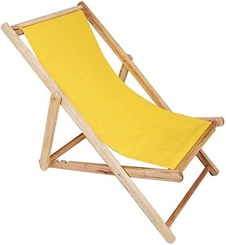 FACAZ Leichter traditioneller Klapp-Strand- / Garten-Liegestuhl aus Holz Strandliege OutdoorCanvas Klappstuhl Recliner Office Load 140kg