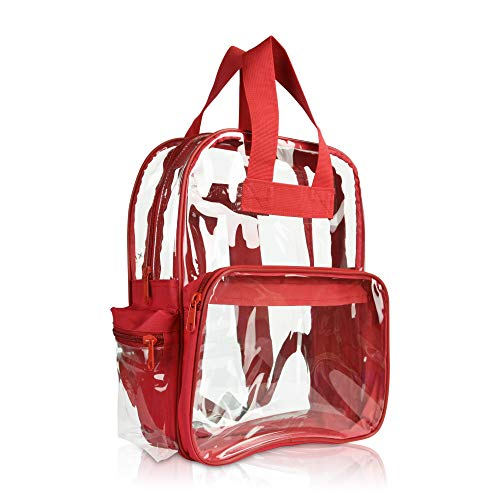 DALIX Kleiner Rucksack, transparent, Schwarz, Lila, Königsblau, Pink, Gold, Grau, Grün, Rot, Blaugrün Gr. Small, rot