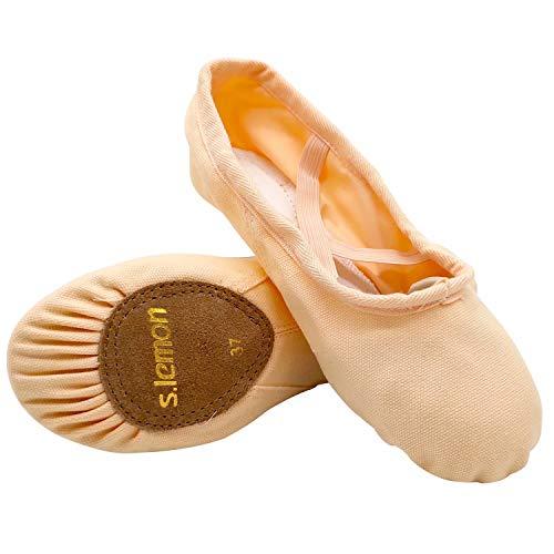 s.lemon Zapatillas de Ballet Lona Media Punta Ballet Zapatos Bailarina Principiantes Danza Zapatos para Niña Mujere Hombres 24-47 Rosa (27 EU)