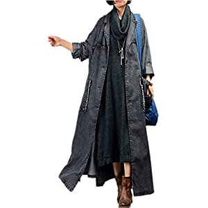 Women Fashion Long Loose Maxi Distressed Denim Trench Jacket Coat Casual Plus Size Lapel Fringed Cut