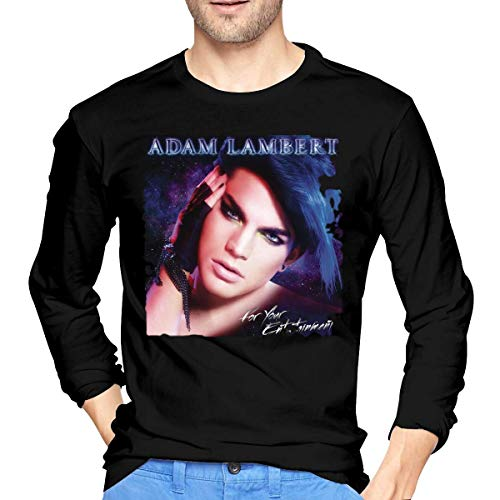 Longsleeves, Langarmshirts, Herren, T-Shirts Hemden, Tops, Men's Adam Lambert for Your Entertainment Cotton Long Sleeve T Shirt Black