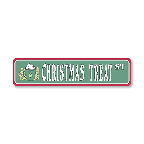 Christmas Treat Street, Decorative Christmas Sign, Holiday Sign - 4 x 18 inches