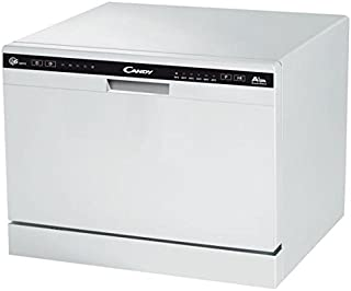 Candy CDCP 6/E - Lavavajillas pequeño, Altura 43,8 cm, 6 servicios, 6 Programas, Sistema antidesbordamiento, Inicio diferido, Clase A+A, 51dB, Color Blanco