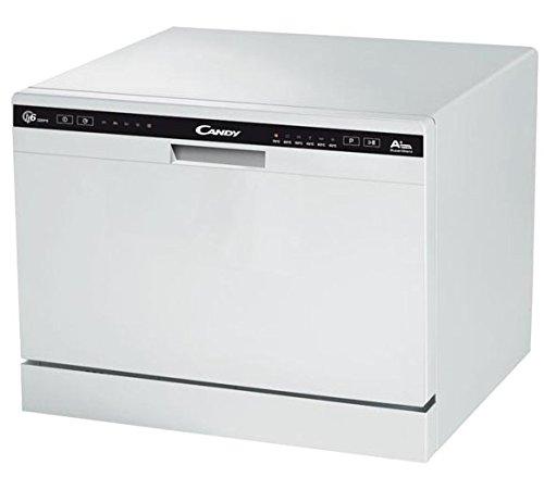 Candy CDCP 6/E - Lavavajillas pequeño, 6 servicios, 6 Programas, Sistema antidesbordamiento, Inicio diferido, Clase A+A, 51dB, Color Blanco, 50 x 55 x 43.8 cm [Clase de eficiencia energética A+]