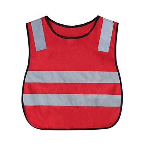 Chaleco reflectante para carrera/GOGO niños chalecos de seguridad con cintura elástica, Rojo