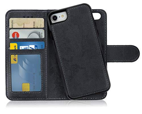 MyGadget Funda Flip Case con Tapa 2 en 1 para Apple iPhone 7/8 en Cuero PU - Carcasa Cerrada con Soporte - Cubierta Magnética Separable - Negra