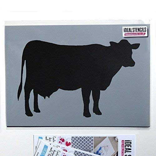 Ideal Stencils Bauernhof Kuh Silhouette Schablone | Bauernhof Tier Wohndeko | Farbe Wände Stoff und Möbel | Wiederverwendbar Kunst Handwerk - halb geschliffen Durchsichtig Schablone, Multipack S/M/L