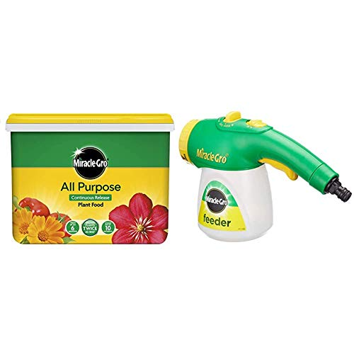 Miracle-Gro Continuous Release Plant Food 2 kg Tub & Feeder filled with All Purpose Soluble Plant Food