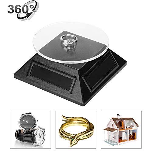 yuyte Schmuck Display Aufsteller, solarbetriebener rotierender Ständer 360° Drehscheibe Rotierende Uhr Telefon Schmuck Organizer Display Stand Schwarz