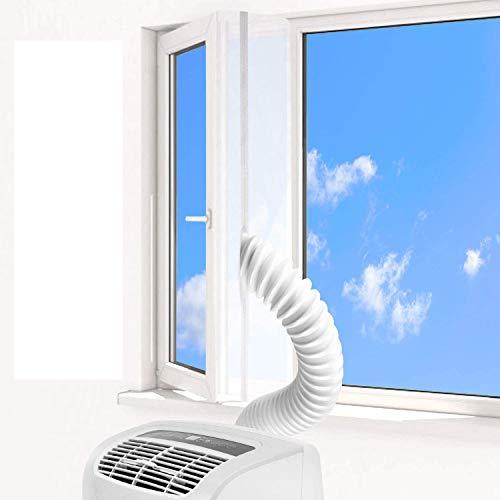 KATELUO Fensterabdichtung für Mobile Klimagerät/Abluft-Wäschetrockner, Umlaufmaß bis 400 cm, Dachfenster/Klimaschlauch/Trockner/Luftentfeuchter Zubehör Klima Fensterabdichtung