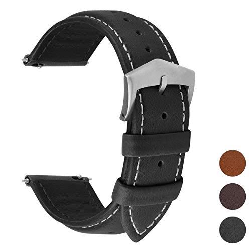 Fullmosa 3 Farben Uhrenarmband, Labu Semi Padded Greased Lederarmband, Ersatzarmband für Damen Herren, Schwarz+ Silber Schnalle 20mm