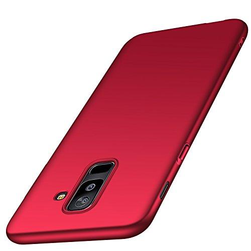 Anccer Kompatibel mit Samsung Galaxy A6 Plus Hülle, [Serie Matte] Elastische Schockabsorption & Ultra Thin Design (Glattes Rot)