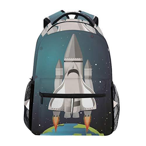 White Grey Earth Rakete Studentenrucksack Kinderrucksack Büchertasche Schülerrucksack mit Laptop Rucksäcke für die Reise Teen Mädchen Jungs