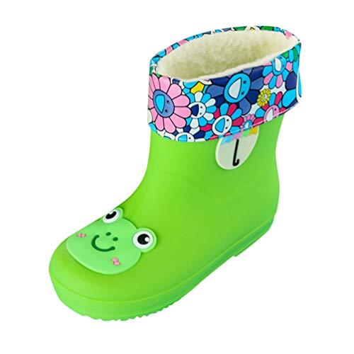 Tookang Kleinkinder Jungen Mädchen Unisex Leichtgewicht Dauerhaft Regenschuhe Schadstofffreie Wasserdicht Stiefel Grüner Frosch