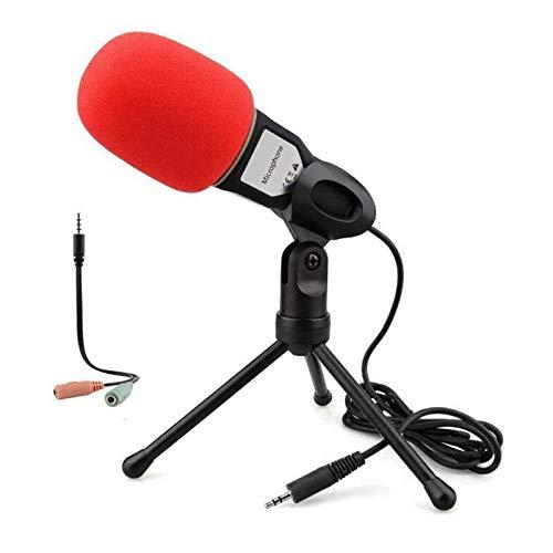 Microfono per computer, 3,5 mm, plug and play, microfono omnidirezionale con supporto da tavolo per giochi, video su YouTube, registrazione podcast, studio, per PC, laptop, tablet, telefono