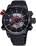 CursOnline® Elegante Orologio da Polso Uomo Ragazzo WH3401 Doppio Orario Analogico e Digitale Display LED Watch Sport Classic Water Resistant. (Rosso)