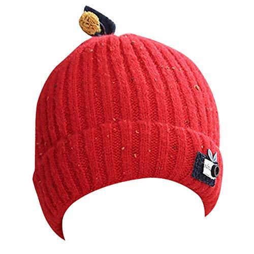 Baby jongens meisjes gebreide muts, katoen bladeren patroon klassieke verstelbare hoed, muts voor kinderen peuter,hoeden verstoord voor 2-8 jaar(Warm rood)