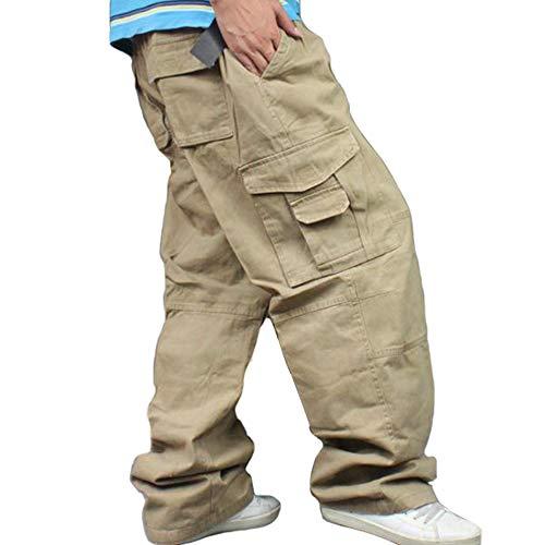 Men Plus Size Cargo Trousers Outdoor Dance Pants Loose Baggy Hip Hop Pocket Khaki