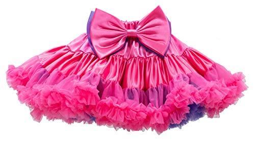 【PEACHERRYS】伝説のリボンブローチ付きカラフルアウターパニエ リバーシブル クリスマス コスプレ 衣装 子供 スカート ペチコート チュチュ バレエ ダンス衣裳、女の子 ダンス コスチューム (130cm, U(ピンク×パープル))