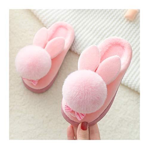 Zapatillas de algodón de felpa Zapatillas de invierno para niños Conejo Conejo...